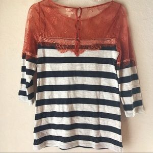 Anthropologie Deletta Striped Lace Blouse Small